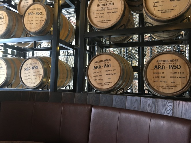 Barrel booth in the bar area.